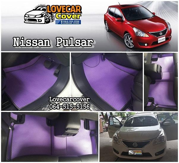 ผ้ายางลายสนุ๊ก EVA สีม่วงขอบดำ Nissan Pulsar