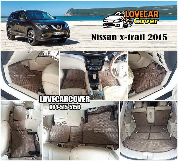 ผ้ายางลายธนู EVA สีน้ำตาล Nissan X-trail 2015
