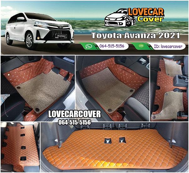 พรมรถยนต์ 7D สีน้ำตาลเข้ม + ไวนิลสีครีม Toyota Avanza 2021