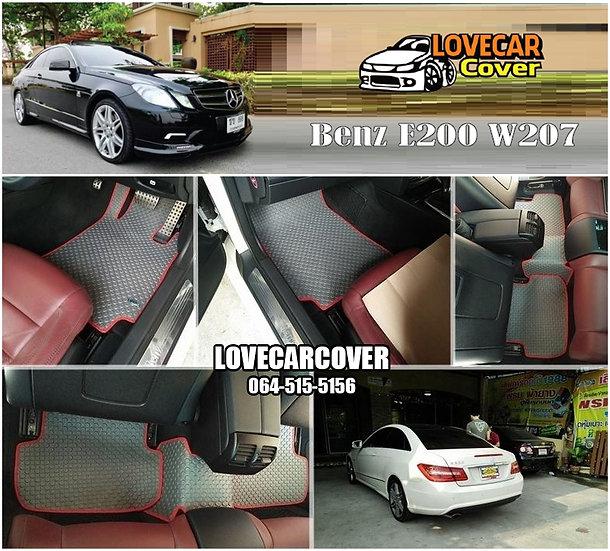 ผ้ายางกระดุมใหญ่ EVA สีเทาขอบแดง Benz E200 W207