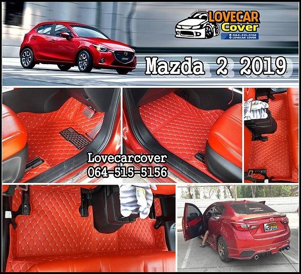 พรมปูพื้นรถยนต์ 6D สีแดงสด Mazda 2 2019
