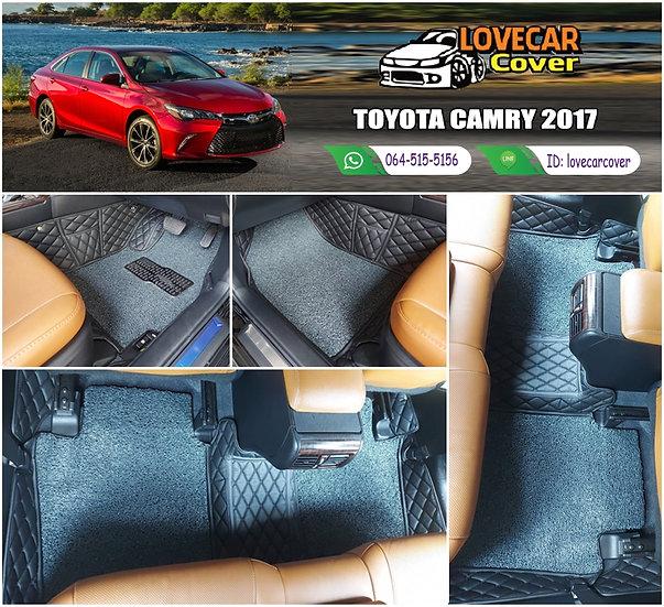พรมรถยนต์ 8D สีดำล้วน + ไวนิลสีเทา Toyota Camry 2017