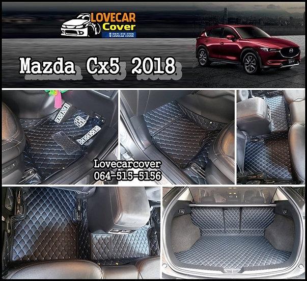พรมรถยนต์ 6D สีดำด้ายฟ้า Mazda Cx5 2018