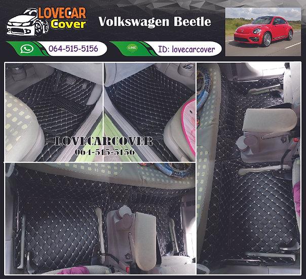 พรมรถยนต์ 6D สีดำด้ายครีม Volkswagen Beetle