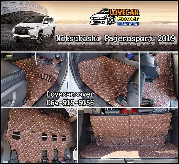 พรมปูพื้นรถยนต์ 6D สีกาแฟ Mitsubishi Pajero sport 2019