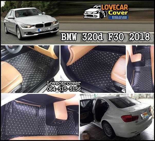 พรมปูพื้นรถยนต์ 6D สีดำด้ายครีม BMW 320d F30 2018