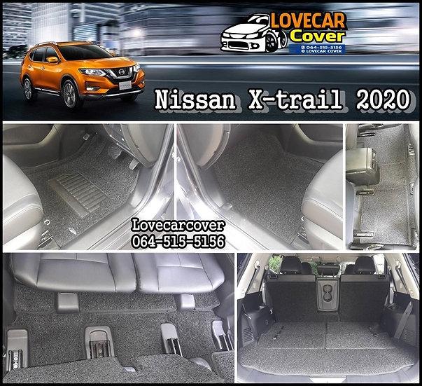 พรมดักฝุ่นรถยนต์ (พรมไวนิล) สีดำ Nissan X-trail 2020