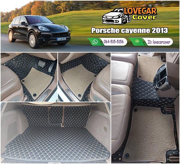 พรมรถยนต์ 7D สีดำด้ายครีม + ไวนิลสีครีม Porsche Cayenne 2013