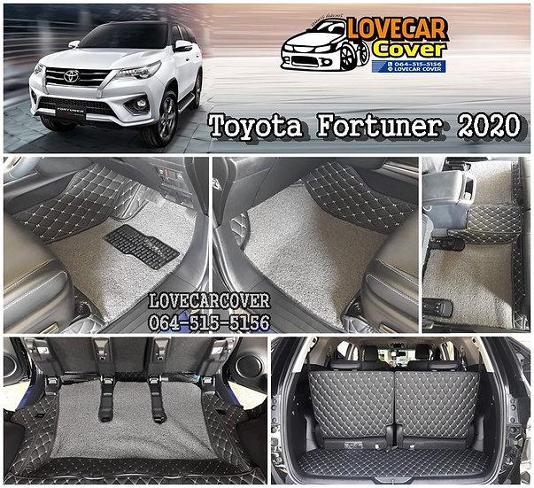 พรมปูพื้นรถยนต์ 8D สีดำด้ายครีม+ไวนิลเทา Toyota Fortuner 2020