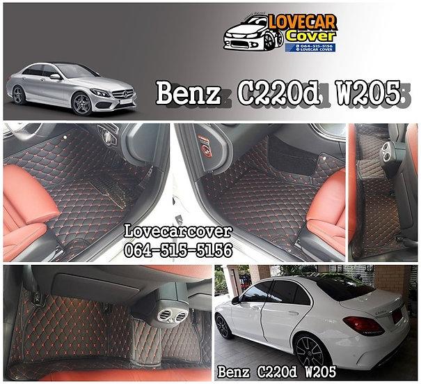 พรมปูพื้นรถยนต์ 6D  สีดำด้ายแดง Benz C220d W205