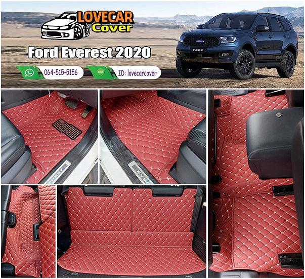 พรมรถยนต์ 6D สีแดงไวน์ Ford Everest 2020