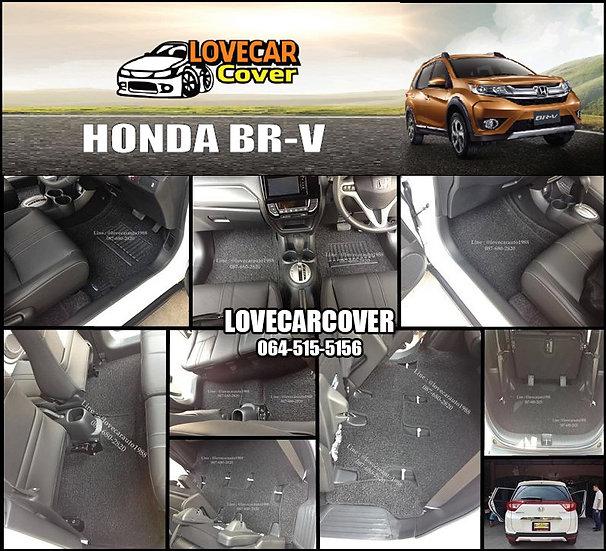 พรมดักฝุ่นรถยนต์ (พรมไวนิล) สีดำ Honda BR-V