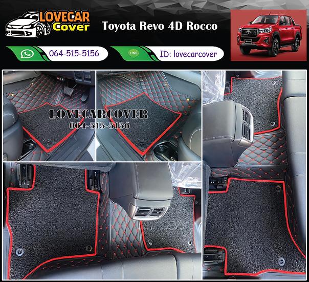 พรมรถยนต์ 7D สีดำด้ายแดง+ไวนิลดำขอบแดง Toyota Revo 4D Rocco