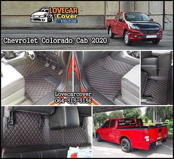 พรมปูพื้นรถยนต์ 6D สีดำด้ายแดง Chevrolet Colorado Cab 2020