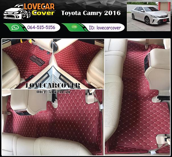 พรมรถยนต์ 6D สีแดงไวน์ Toyota Camry 2016