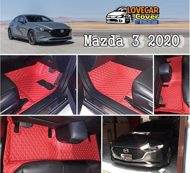 พรมปูพื้นรถยนต์ 6D สีแดงสด Mazda 3 2020
