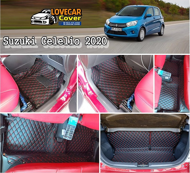พรมรถยนต์ 6D สีดำด้ายแดง Suzuki Celelio 2020