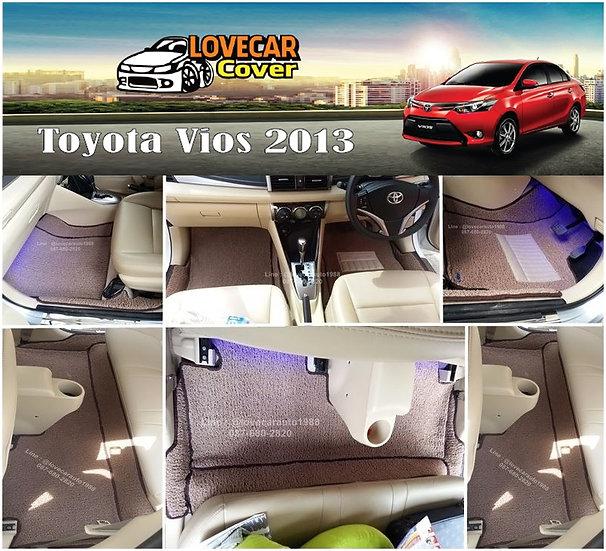 พรมดักฝุ่นรถยนต์ (พรมไวนิล) สีน้ำตาล Toyota Vios 2013