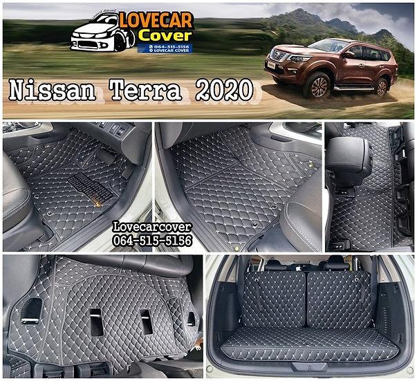 พรมรถยนต์ 6D สีดำด้ายครีม Nissan Terra 2020