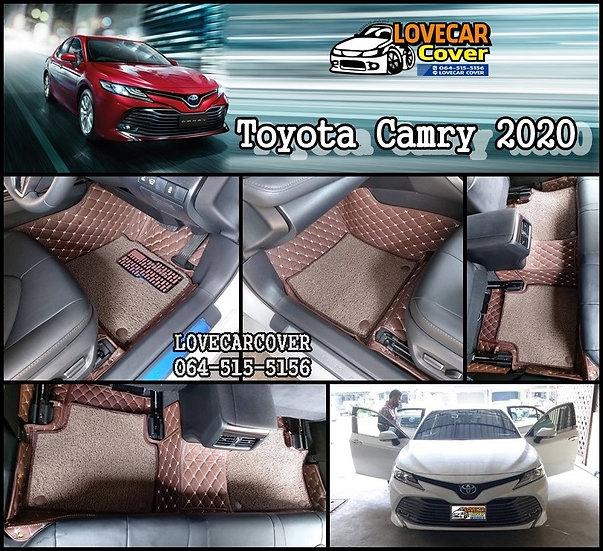 พรมปูพื้นรถยนต์ 7D สีกาแฟ+ไวนิลน้ำตาล Toyota Camry 2020