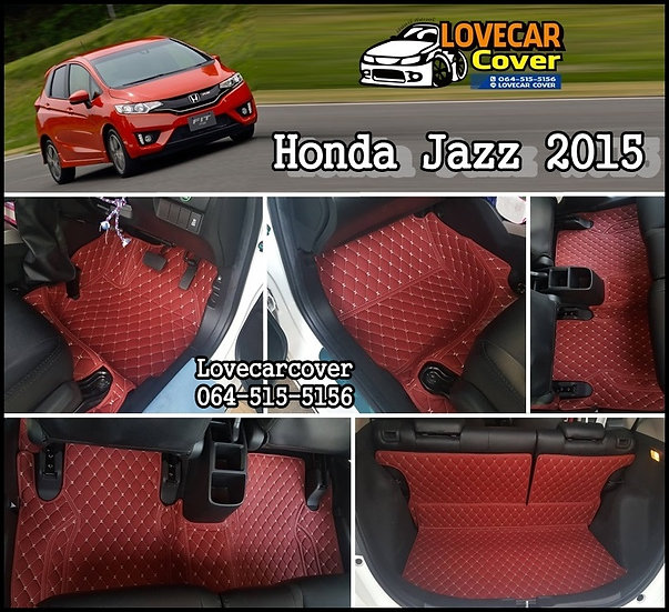 พรมรถยนต์ 6D สีแดงไวท์ Honda Jazz 2015