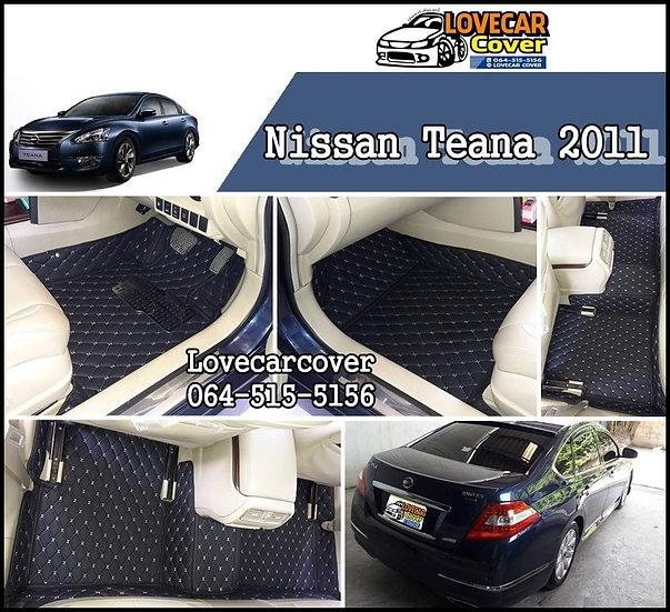 พรมรถยนต์ 6D สีดำด้ายฟ้า Nissan Teana 2011