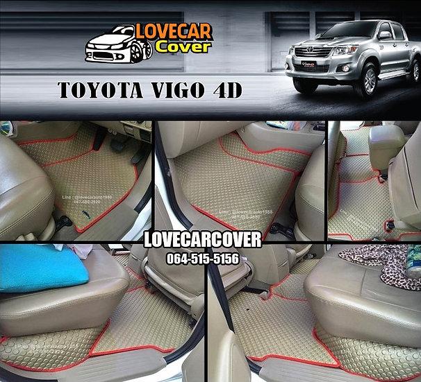 ผ้ายางกระดุมใหญ่ EVA สีครีมขอบสีแดง Toyota Vigo 4 ประดู