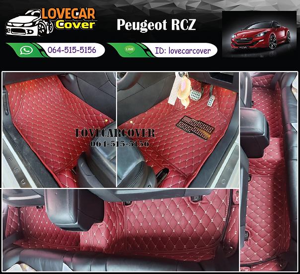 พรมปูพื้นรถยนต์ 6D สีแดงไวท์ Pengeot RCZ