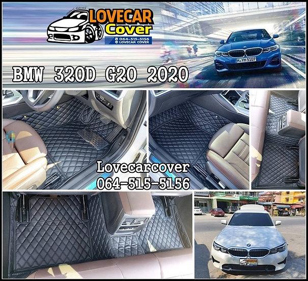พรมรถยนต์ 6D สีดำล้วน BMW 320D G20 2020