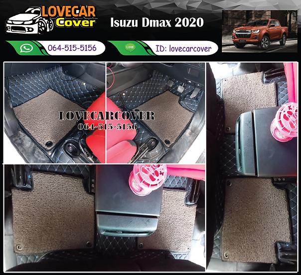 พรมรถยนต์ 7D สีดำด้ายฟ้า+ไวนิลสีน้ำตาล Isuzu D-max 2020