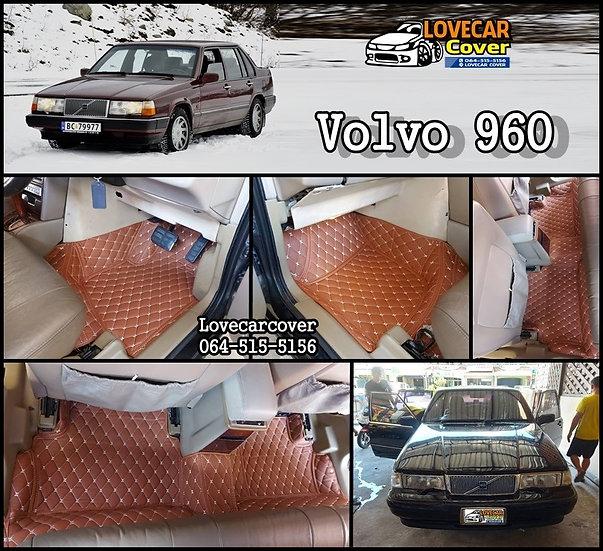 พรมปูพื้นรถยนต์ 6D สีน้ำตาลเข้ม Volvo 960