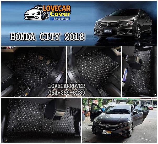 พรมปูพื้นรถยนต์ 6D สีดำด้ายครีม Honda City 2018