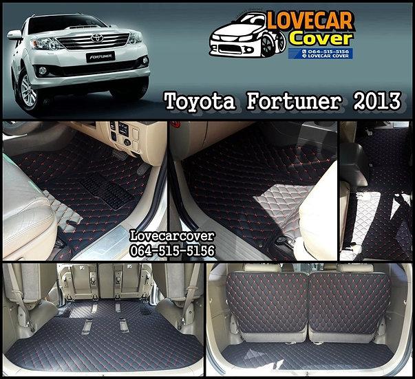 พรมปูพื้นรถยนต์ 6D สีดำด้ายแดง Toyota Fortuner 2013