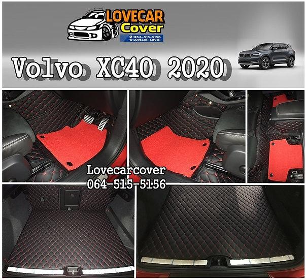 พรมปูพื้นรถยนต์ 7D สีดำด้ายแดง+ไวนิลแดง Volvo XC40 2020