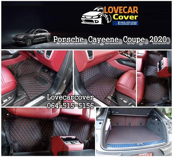 พรมรถยนต์ 6D สีดำด้ายแดง Porsche Cayeene coupe 2020