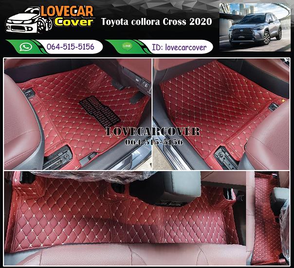 พรมรถยนต์ 6D สีแดงไวท์ Toyota collora Cross 2020