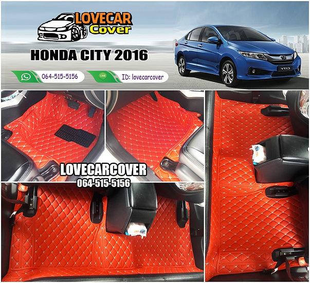 พรมรถยนต์ 6D สีแดงสด Honda City 2016