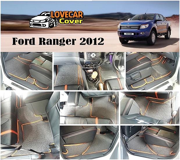 พรมดักฝุ่นรถยนต์ (พรมไวนิล) สีเทาขอบสีส้ม Ford Ranger 2012