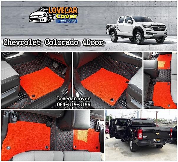 พรมปูพื้นรถยนต์ 7D สีดำ+ไวนิลสีแดงสด Chevrolet Colorado 4 Door