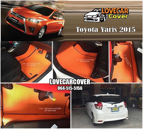 ผ้ายางกระดุมใหญ่ EVA สีส้มขอบดำ Toyota Yaris 2015
