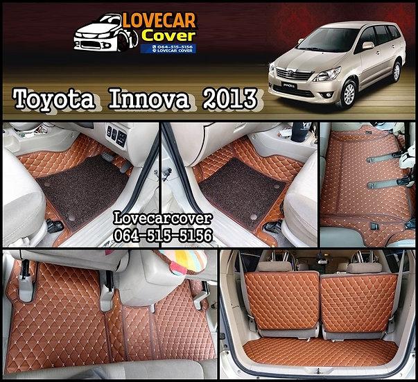 พรมปูพื้นรถยนต์ 7D สีน้ำตาลเข้ม Toyota Innova 2013