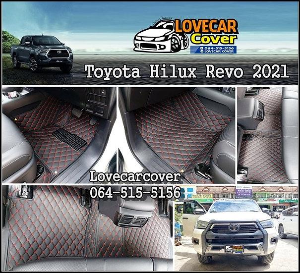 พรมปูพื้นรถยนต์ 6D สีดำด้ายแดง Toyota Hilux Revo  2021