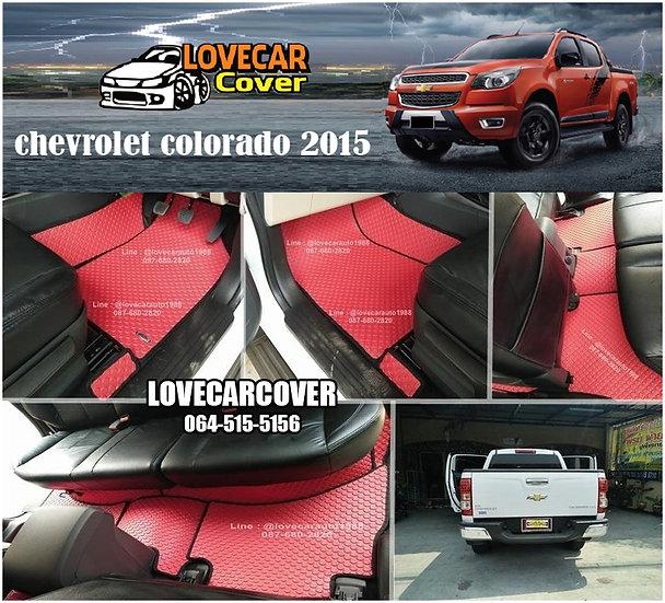 ผ้ายางกระดุมใหญ่ EVA สีแดงขอบสีดำ  Chevrolet Colorado 2015