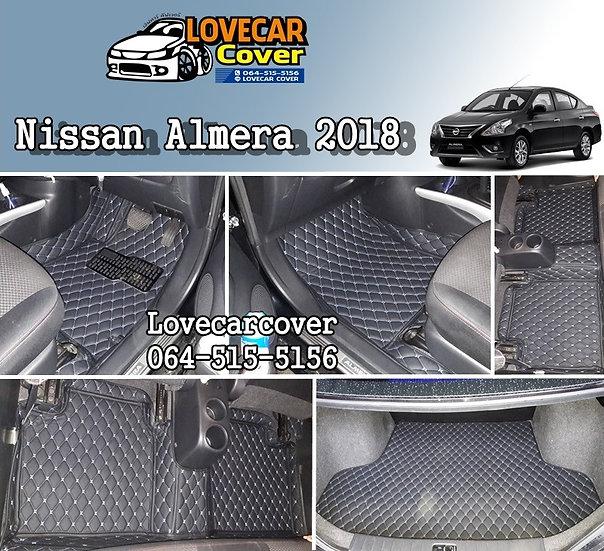 พรมปูพื้นรถยนต์ 6D สีดำด้ายฟ้า Nissan Almera 2018