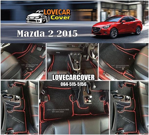 พรมดักฝุ่นรถยนต์ (พรมไวนิล) สีดำด้ายแดง Mazda 2 2015