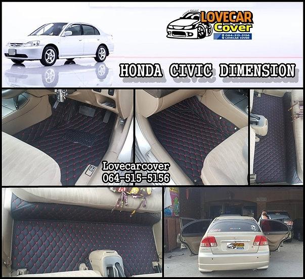 พรมรถยนต์ 6D สีดำด้ายแดง HONDA CIVIC DIMENSIO