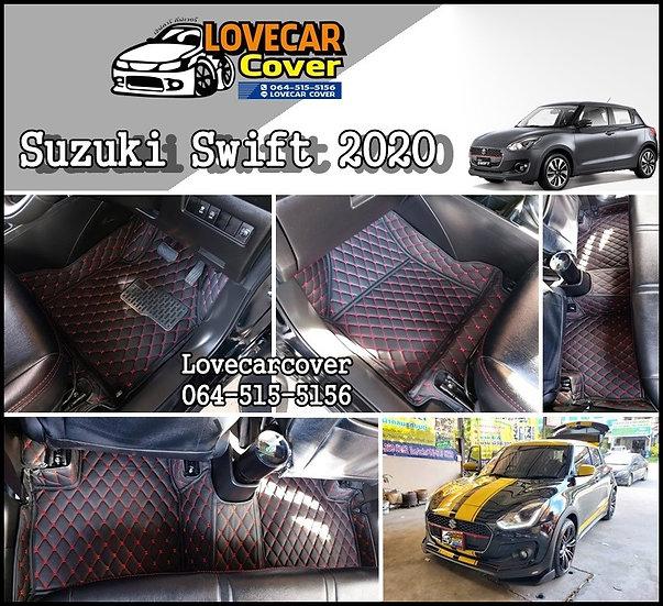พรมรถยนต์ 6D สีดำด้ายแดง  Suzuki Swift 2020