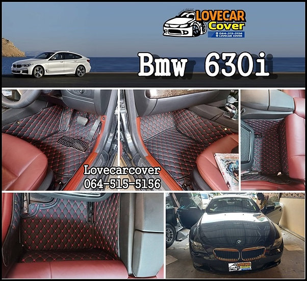 พรมรถยนต์ 6D สีดำด้ายแดง BMW 630I