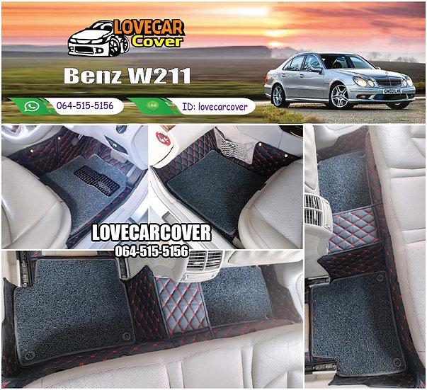 พรมรถยนต์ 7D สีดำด้ายแดง + ไวนิลสีเทา Benz W211
