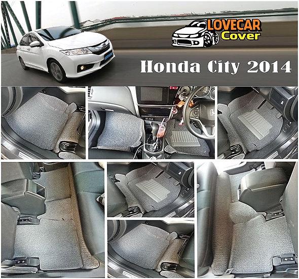พรมดักฝุ่นรถยนต์ (พรมไวนิล) สีเทา Honda City 2014